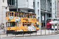 Streetcar with advertizing in hong kong Royalty Free Stock Image