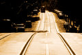 A streetcar named perspective toned shot of street with rise and coming down the road Stock Photo