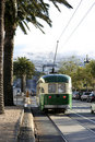 Streetcar in San Francisco with foggy Twin Peaks Royalty Free Stock Photography