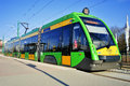 Streetcar tramino in poznan poland introduced is a product of solaris bus coach bus coach trolleybus and tram manufacturer based Royalty Free Stock Photo