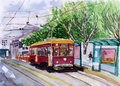 Streetcar watercolor sketch on paper Stock Images