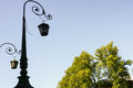 Streetlamp black forged old fashioned Royalty Free Stock Photos