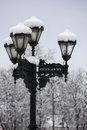 Streetlamp covered with snow old in winter Royalty Free Stock Photos