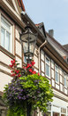 Streetlight with flowers on the city street to wolfenbuttel germany Stock Photography