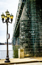 Streetlight and River Bridge Royalty Free Stock Photo