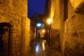 Streets of ancient city of akko at night. Israel Royalty Free Stock Photo