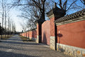 The streets of beijing east asia china winter with warm sunshine Royalty Free Stock Photo