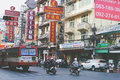 Streets of the busy Chinatown district in Bangkok are seen in th