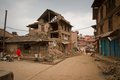 The streets of earthquake hit Bhaktapur, Nepal Royalty Free Stock Photo