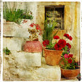 Streets of greek villages Royalty Free Stock Photo