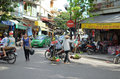 Streets of hanoi shops and people on the vietnam Stock Image