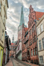 Streets of lübeck the scene street was shot in the morning is the second largest city in schleswig holstein in northern germany Royalty Free Stock Photos