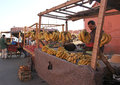 The streets of marrakech a fruit stand outside walls city Royalty Free Stock Image