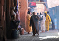 The streets of marrakech a narrow alley marrakesch populated by people who lurk among small shops Royalty Free Stock Image