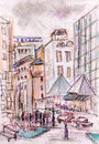 Streets of moscow tverskaya sketch Stock Photo