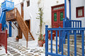 Streets at mykonos island in greece traditional of Stock Photography