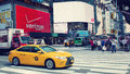 Streets of new york yellow taxis in the manhattan city usa Royalty Free Stock Photos