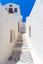 Streets of Oia village at Santorini island Royalty Free Stock Photo