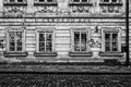 The streets of old prague gift shop czech republic february stylized film large grains black and white is Stock Images