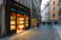 The streets of old prague souvenir shop czech republic february is capital and largest city czech Royalty Free Stock Photography