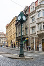The streets of old prague the town clock on the pole crossroads czech republic february is capital and largest Stock Image