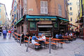 Streets in the old town nice france may people having lunch at french outdoor cafe largest resort and tourist on french Stock Images