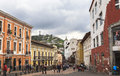 Streets of quito central ecuador this photo was taken in at pm s capital sits high in the andean foothills at an altitude m Stock Photos