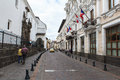 Streets of quito central ecuador this photo was taken in at pm s capital sits high in the andean foothills at an altitude m Royalty Free Stock Photo