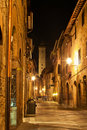 Streets of San Gimignano, in the night Royalty Free Stock Photography