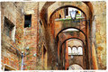 Streets of siena italy tuscany stunning series pitigliano small medieval town on rock Stock Photos