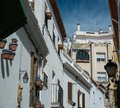Streets of sitges narrow in town spain Royalty Free Stock Images