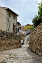 Streets of the small spanish town Morella. Royalty Free Stock Photos