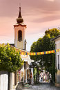 The streets of the tourist town of Szentendre with shops and restaurants. Royalty Free Stock Photo