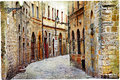 Streets of volterra medieval towns tuscany italy Royalty Free Stock Images