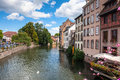 Streets and water canal Petite France in Strasbourg. Alsace Royalty Free Stock Photo