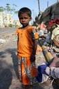 Streetside Beggar Girl Royalty Free Stock Photo