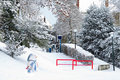 Streetview city in snow with snowmen Stock Photography