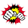 Strength fists, martial arts emblem. Vector. Stock Photo