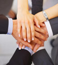 Strength in Numbers - Hands on top of each other. Stock Images