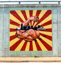 The strength of raleigh and frayser mural on a bridge underpass muscular arm with written it with landscape downtown memphis Royalty Free Stock Images
