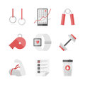 Strength training flat icons set of physical activity bodybuilding equipment sport workout fitness schedule design style Stock Images