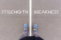 Strength and weakness text on asphalt ground, feet and shoes on Royalty Free Stock Photo