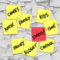 Stress burdens sticky notes reminders for stressful life a of illustrated by many with of things such as chores money budget kids Stock Image