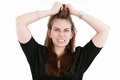 Stress. Business woman frustrated and stressed Royalty Free Stock Photo