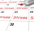 Stress calendar means pressure strain and meaning burden Stock Photos