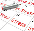 Stress calendar means pressured tense and meaning anxious Royalty Free Stock Photos