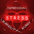 Stress depression worry and anxiety displays burnout displaying Royalty Free Stock Images