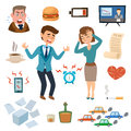 Stress people pressure workplace tired unhappy adult sad problem frustration set vector illustration. Royalty Free Stock Photo