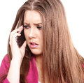 Stress on phone stressed woman mobile face portrait in square crop Stock Image