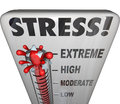Stress thermometer overwhelming too much work load word on a to illustrate and measure your from low to moderate to high to Stock Photography